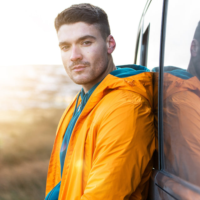 Craven Mens Waterproof Packaway Jacket - Orange Sunset image 7