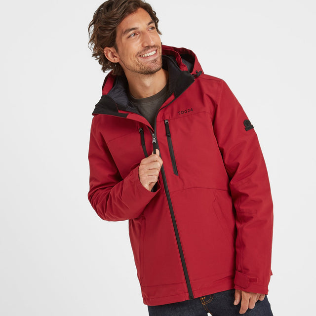 Denton Mens Waterproof 3-In-1 Jacket - Chilli Red image 1