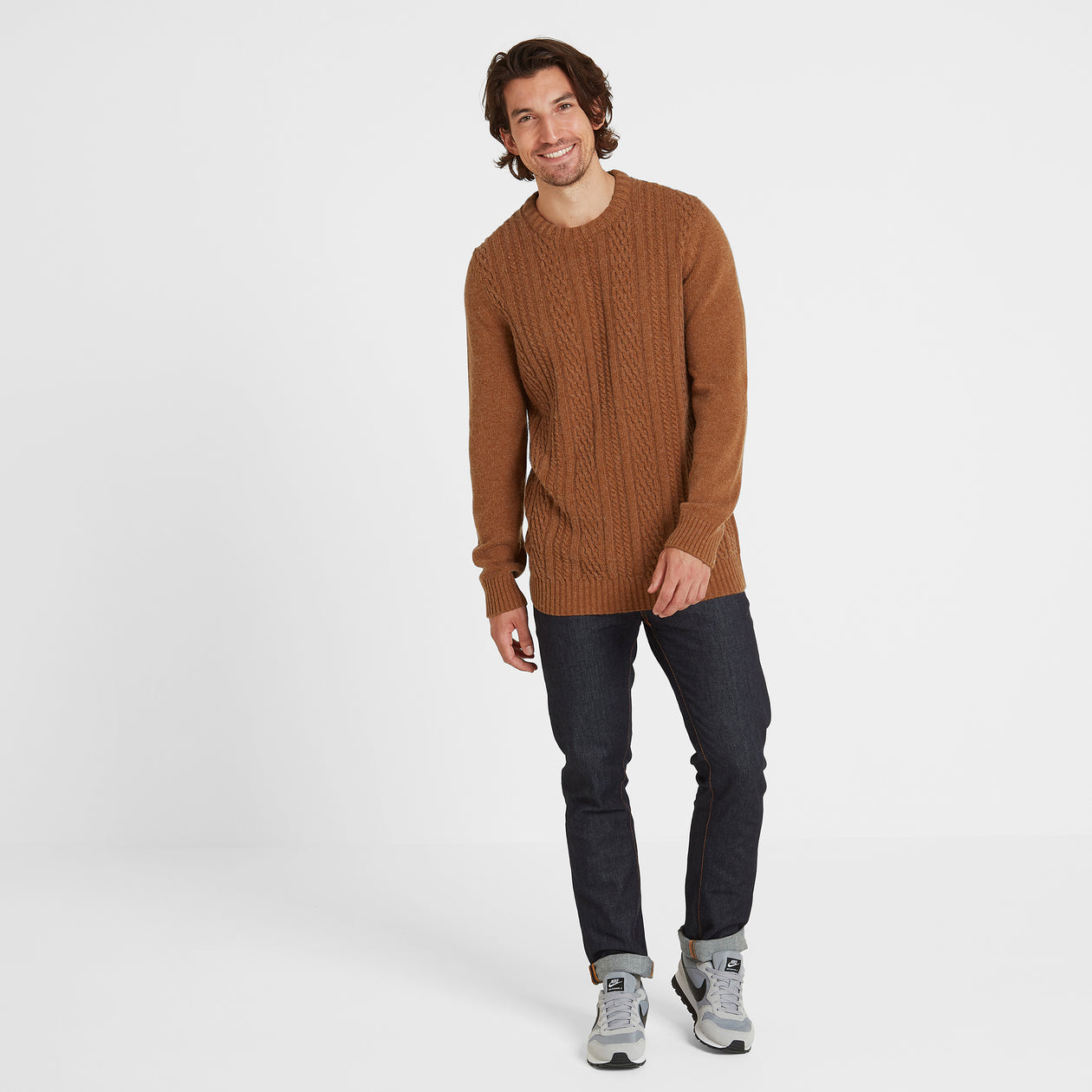Dermot Mens Cable Knit Jumper - Amber Marl image 4