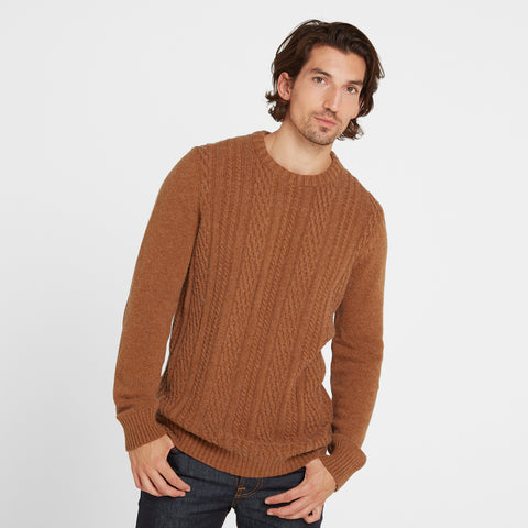 Dermot Mens Cable Knit Jumper - Amber Marl