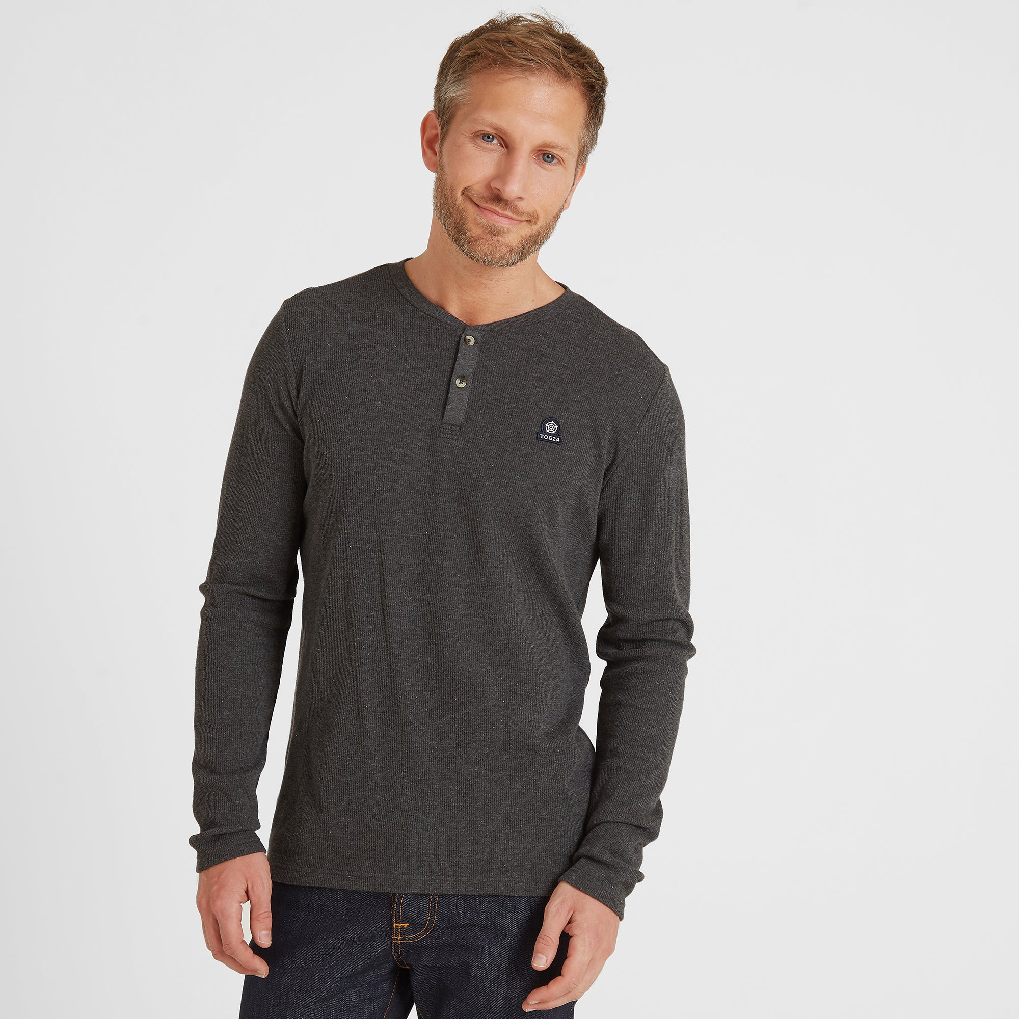 Drewton Mens Grandad Collar T-Shirt - Dark Grey Marl