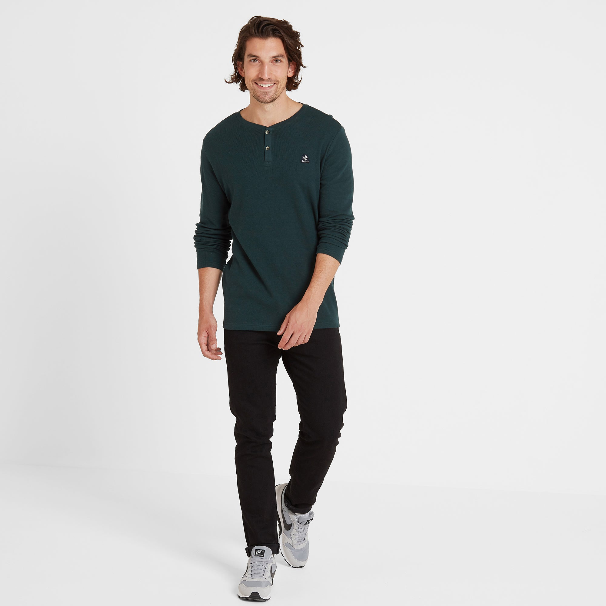 Drewton Mens Grandad Collar T-Shirt - Dark Teal