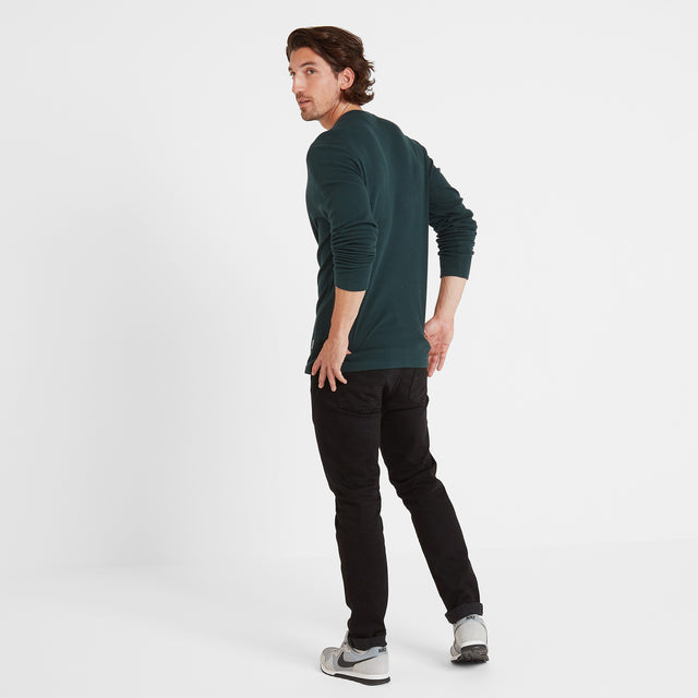 Drewton Mens Grandad Collar T-Shirt - Dark Teal image 3