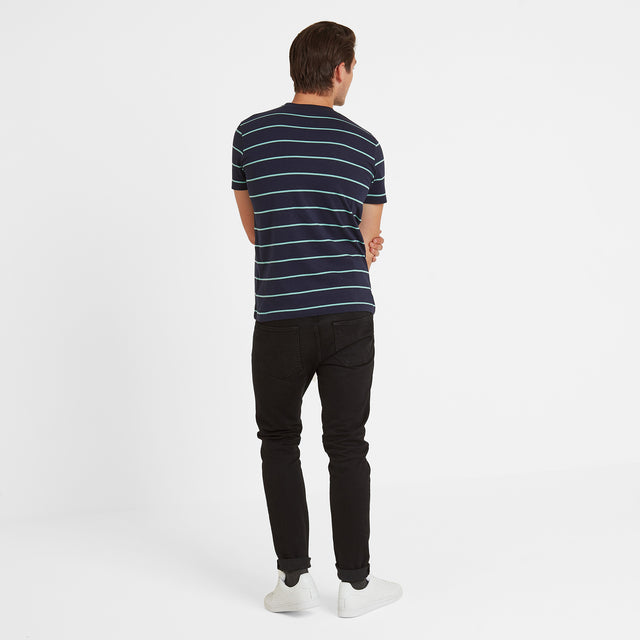 Elliot Stripe Mens T-Shirt - Navy image 3