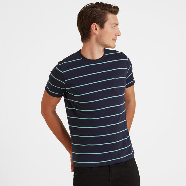 Elliot Stripe Mens T-Shirt - Navy image 1