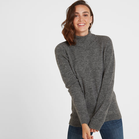 Etta Womens Chunky Roll Neck Jumper - Dark Grey Marl