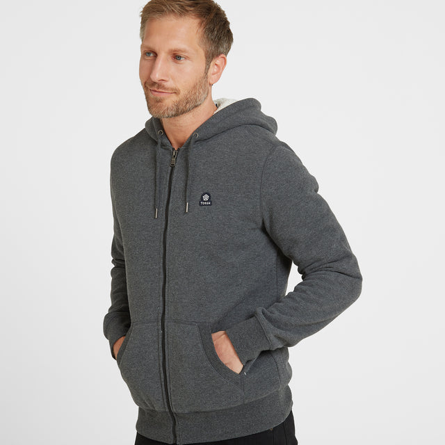 Frewin Mens New Sherpa Hoody - Dark Grey Marl image 1