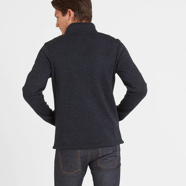 Garton Mens Knitlook Fleece Jacket - Dark Indigo Marl image 2