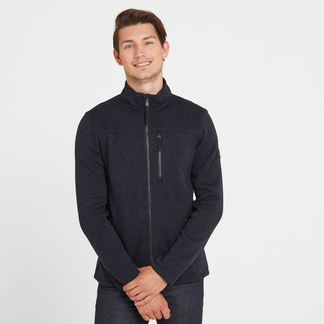 Garton Mens Knitlook Fleece Jacket - Dark Indigo Marl image 1