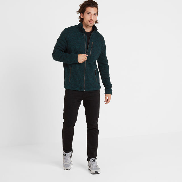 Garton Mens Knitlook Fleece Jacket - Forest Marl image 3