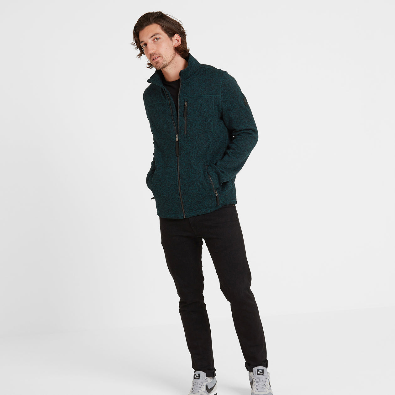 Garton Mens Knitlook Fleece Jacket - Forest Marl image 4