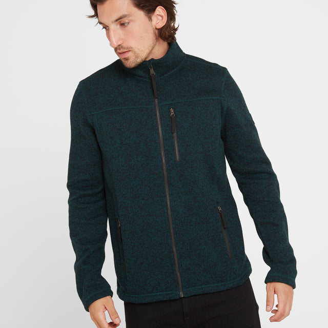 Garton Mens Knitlook Fleece Jacket - Forest Marl image 1