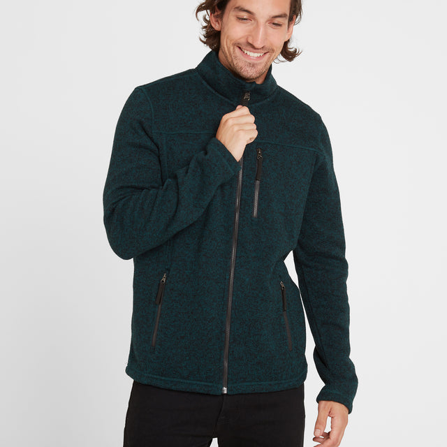 Garton Mens Knitlook Fleece Jacket - Forest Marl image 2
