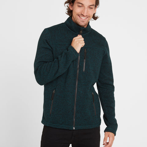 Garton Mens Knitlook Fleece Jacket Forest Marl