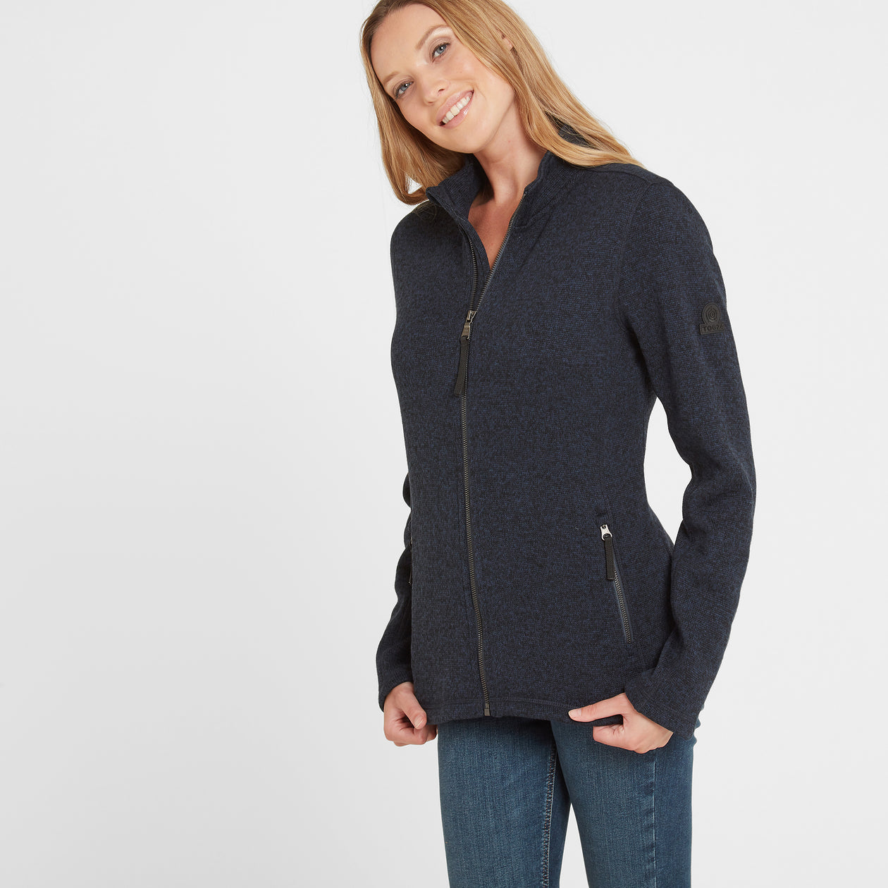 Garton Womens Knitlook Fleece Jacket - Dark Indigo image 4