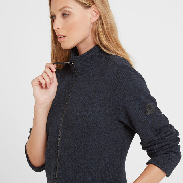 Garton Womens Knitlook Fleece Jacket - Dark Indigo image 1