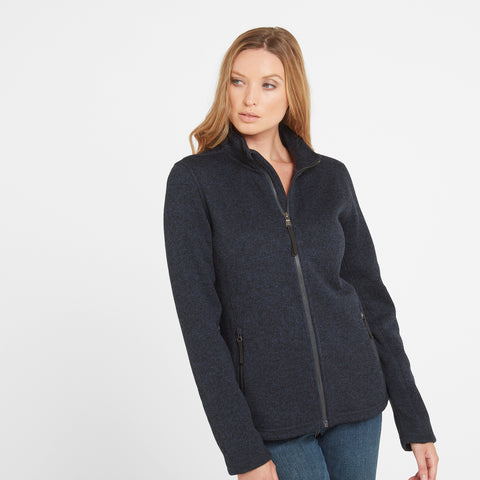 Garton Womens Knitlook Fleece Jacket - Dark Indigo