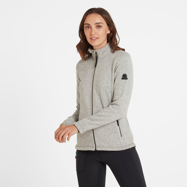 Garton Womens Knitlook Fleece Jacket - Light Grey Marl image 1