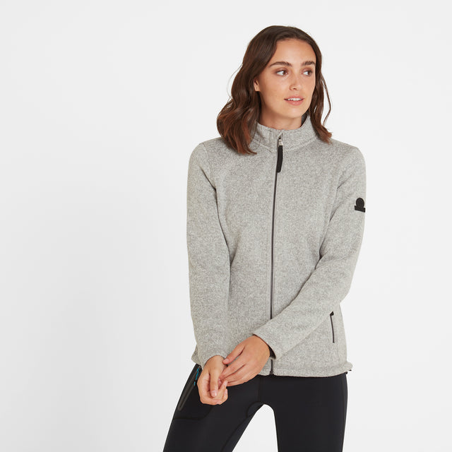 Garton Womens Knitlook Fleece Jacket - Light Grey Marl image 2