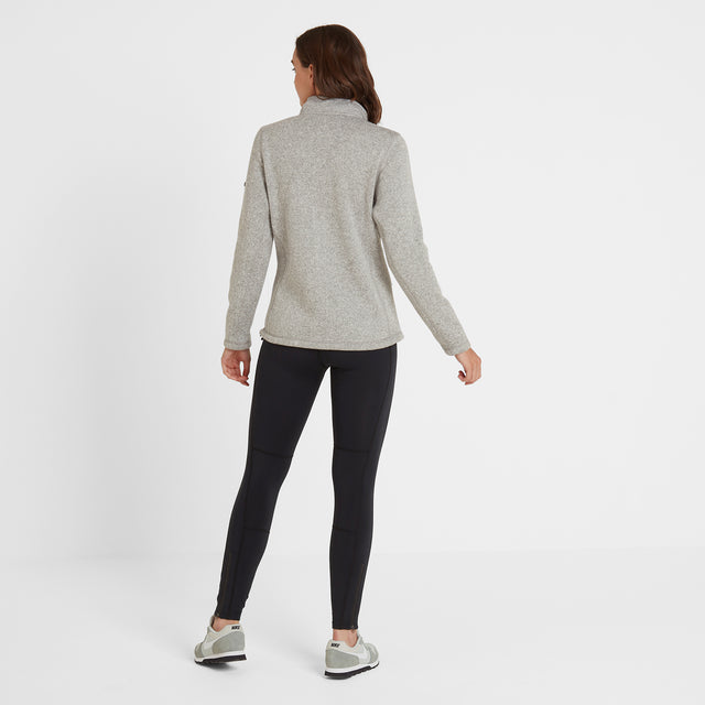 Garton Womens Knitlook Fleece Jacket - Light Grey Marl image 5