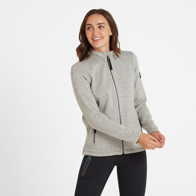 Garton Womens Knitlook Fleece Jacket - Light Grey Marl image 3