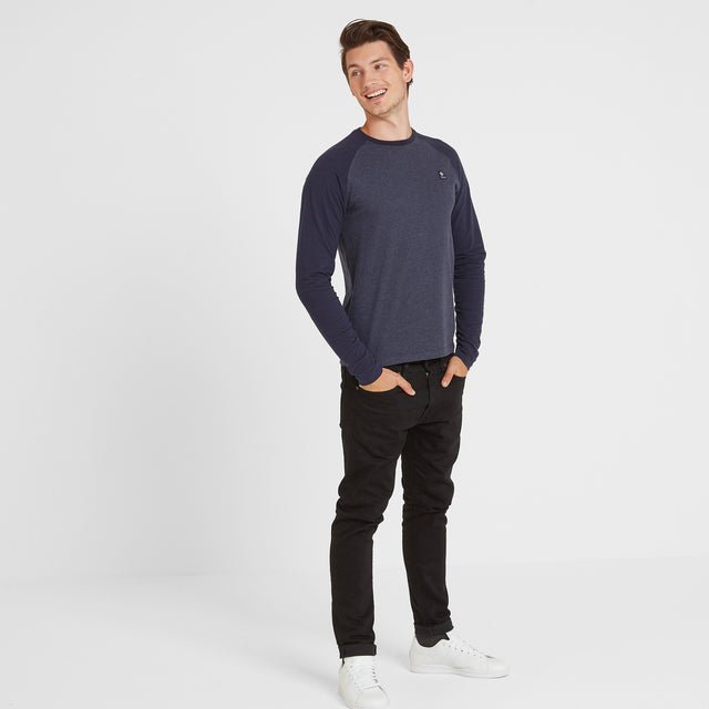 Haxby Mens Long Sleeve Raglan T-Shirt - Navy Marl/Navy image 2