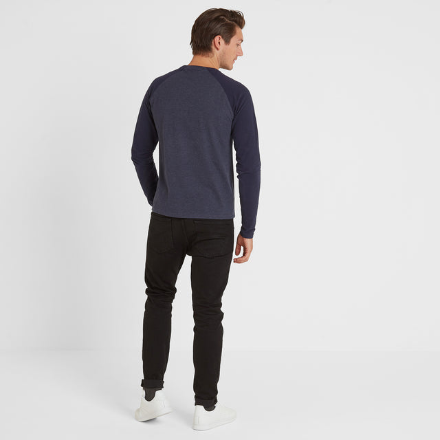 Haxby Mens Long Sleeve Raglan T-Shirt - Navy Marl/Navy image 3