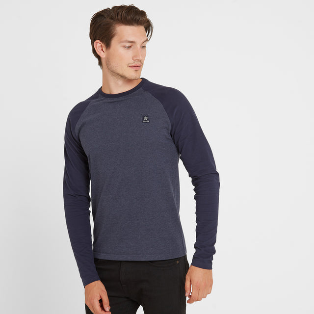 Haxby Mens Long Sleeve Raglan T-Shirt - Navy Marl/Navy image 1