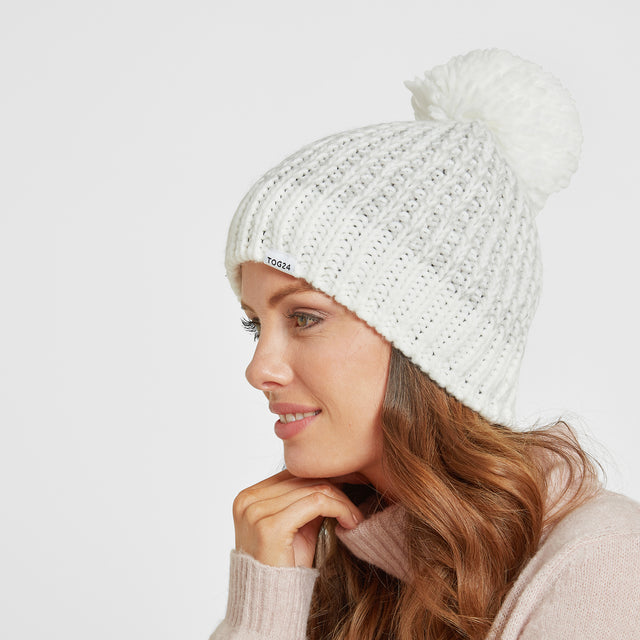 Honeydon Knit Hat - White/Ice Grey Marl image 2