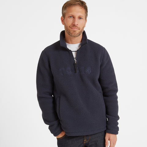Kirkstall Mens Fleece Zip Neck - Dark Indigo