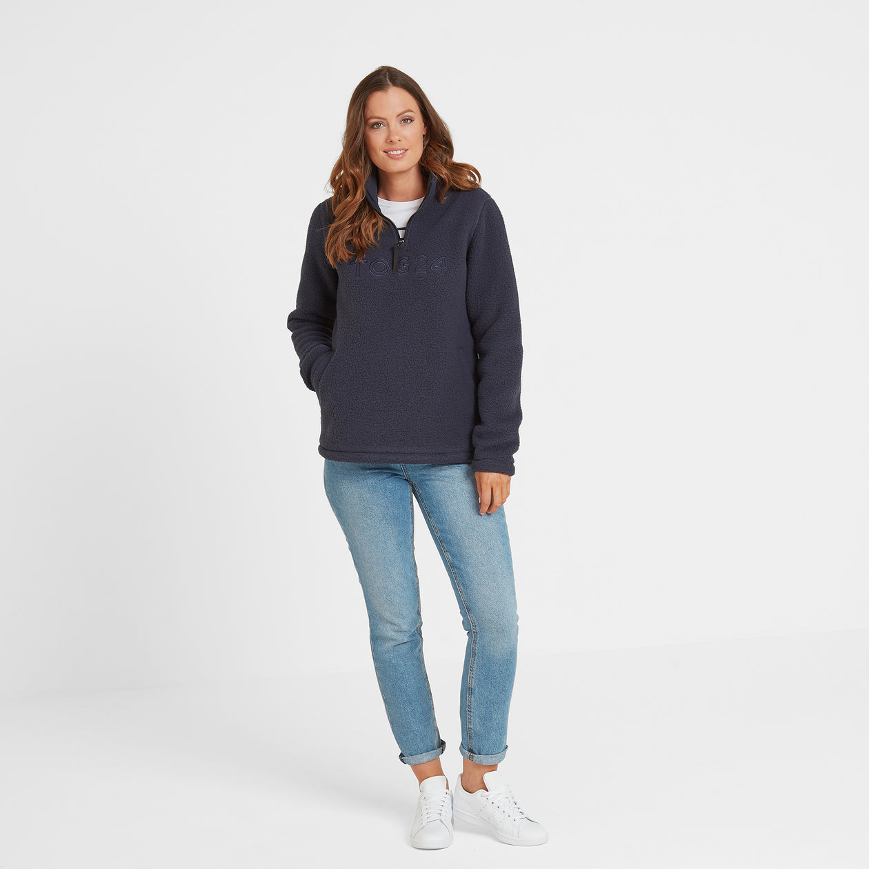 Kirkstall Womens Fleece Zip Neck - Dark Indigo image 4