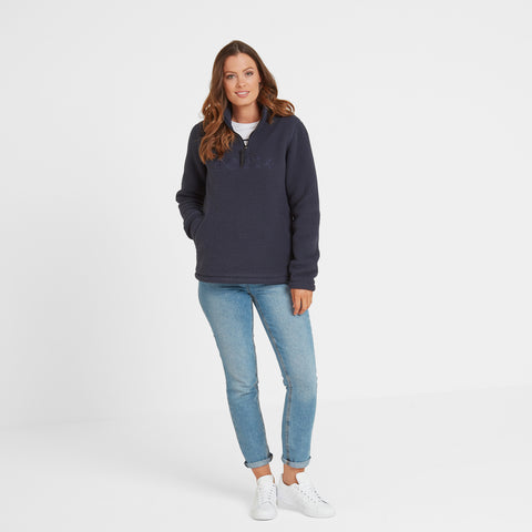 Kirkstall Womens Fleece Zip Neck - Dark Indigo