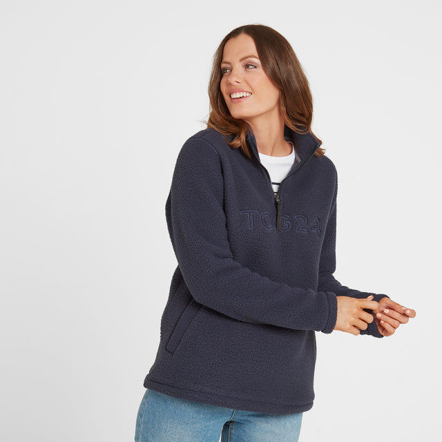 Kirkstall Womens Fleece Zip Neck - Dark Indigo image 1