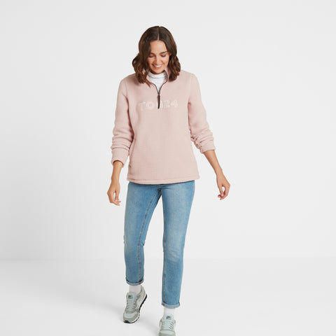 Kirkstall Womens Fleece Zip Neck - Rose Pink