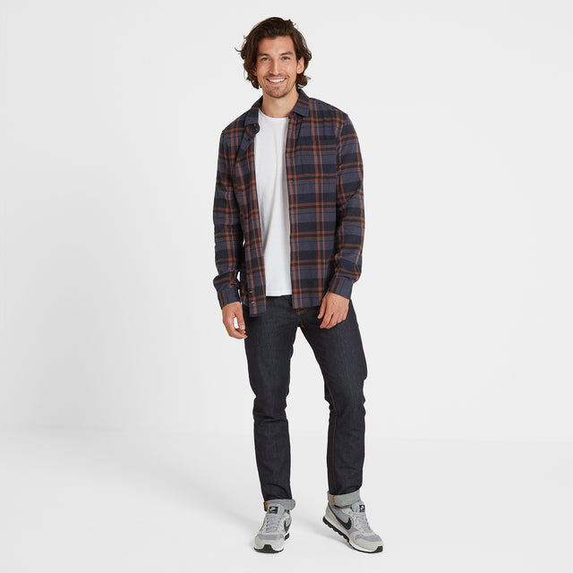 Louis Mens Long Sleeve Flannel Check Shirt - Amber Check image 2