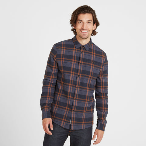 Louis Mens Long Sleeve Flannel Check Shirt - Amber Check