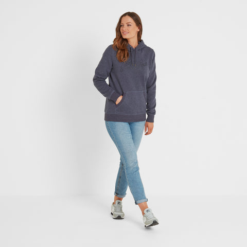 Mappleton Womens Hoody Curly Print - Dark Indigo Marl