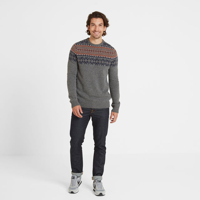Melvin Mens Fairisle/Pattern Jumper - Light Grey Marl/Amber image 2