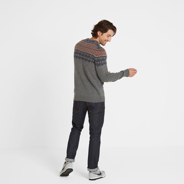 Melvin Mens Fairisle/Pattern Jumper - Light Grey Marl/Amber image 3