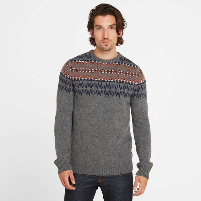 Melvin Mens Fairisle/Pattern Jumper - Light Grey Marl/Amber image 1