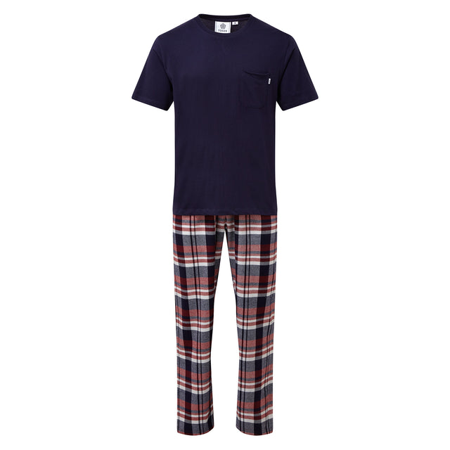 Slumber Mens Long Pyjamas - Navy/Chilli Check image 7