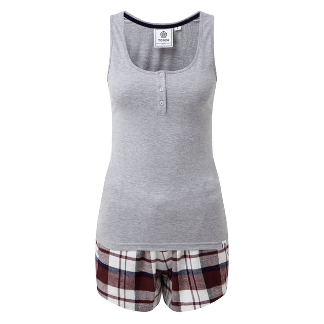 Snooze Womens Short Pyjamas - Grey Marl/Navy Check image 7