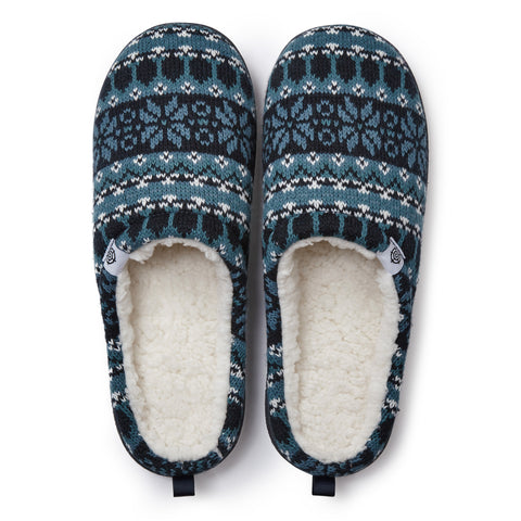 Todwick Mens Knit Slipper - Navy Fairisle
