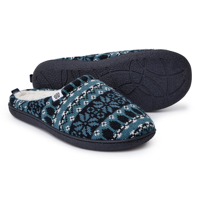 Todwick Mens Knit Slipper - Navy Fairisle image 1