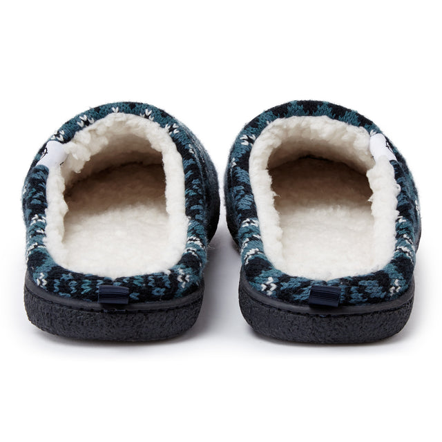 Todwick Mens Knit Slipper - Navy Fairisle image 3