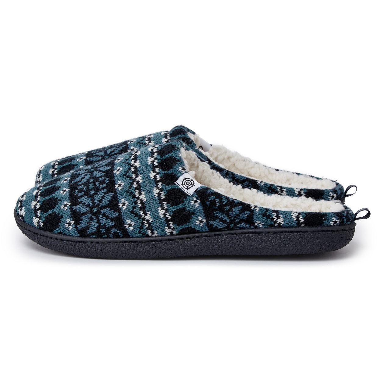 Todwick Mens Knit Slipper - Navy Fairisle image 4