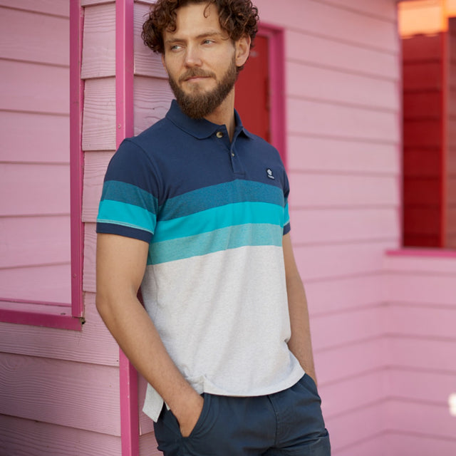 Derwent Mens Pique Stripe Polo - Blue Jewel Stripe image 5