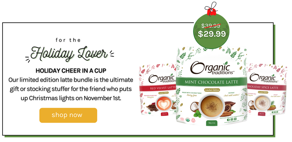 limited edition latte bundle organic traditions holiday spice mint chocolate red velvet lattes