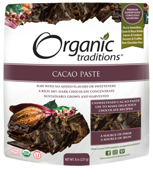 organic cacao paste 8oz by organic traditions US front of bag image