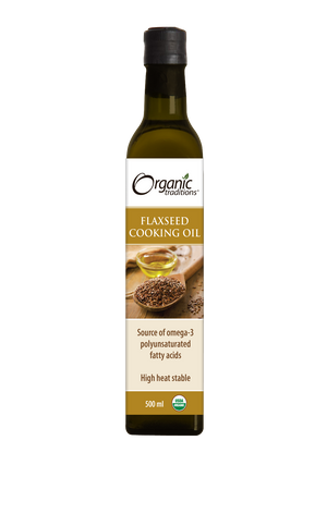organic flaxseed cooking oil by organic traditions US front of bottle